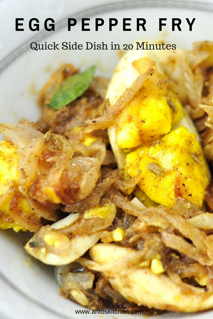 Egg pepper fry with onion a quick side dish for chapathi in 20 mins