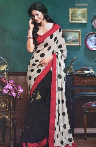 Red /& White Polka Dot Print Bollywood Party Wear Designer Saree Sari