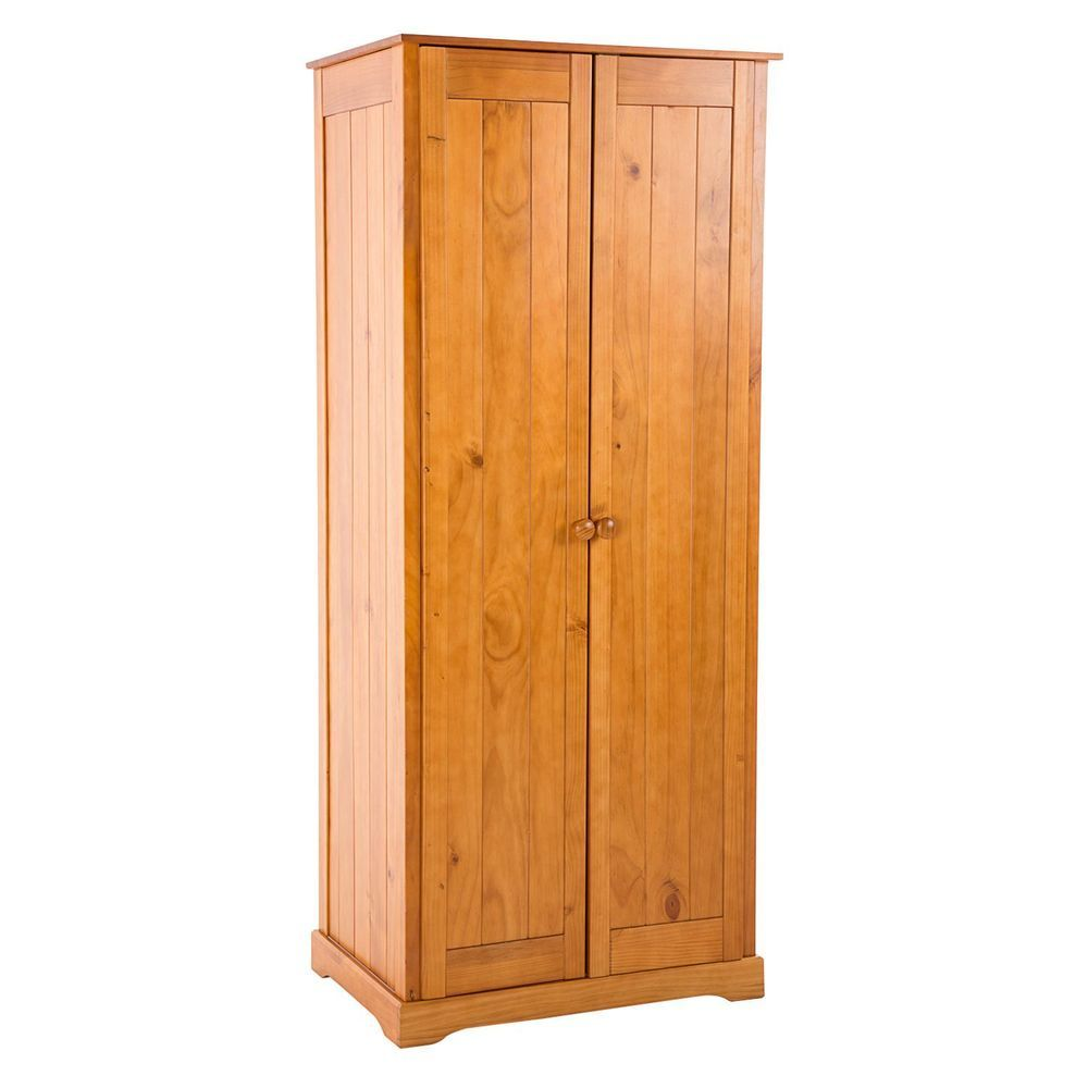 2 Door Wardrobe Natural Color Antique Pine Finish Wood Storage Bedroom Furniture Storage Furniture Bedroom Bedroom Furniture For Sale Wood Storage