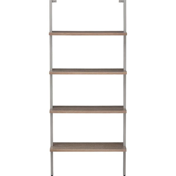CB2 Helix Taupe Bookcase 199 30Wx1175Dx70H Oak Veneer Shelves In A Metal Tube Frame Powder Coated Matte Grey