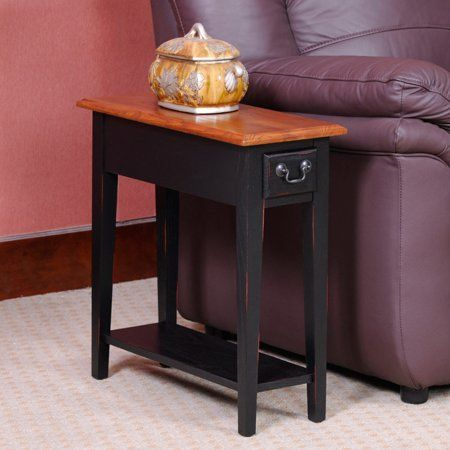 Hardwood 10 Inch Chairside End Table In Black And Oak Walmart Com End Tables Table Chair Side Table 10 inch end table