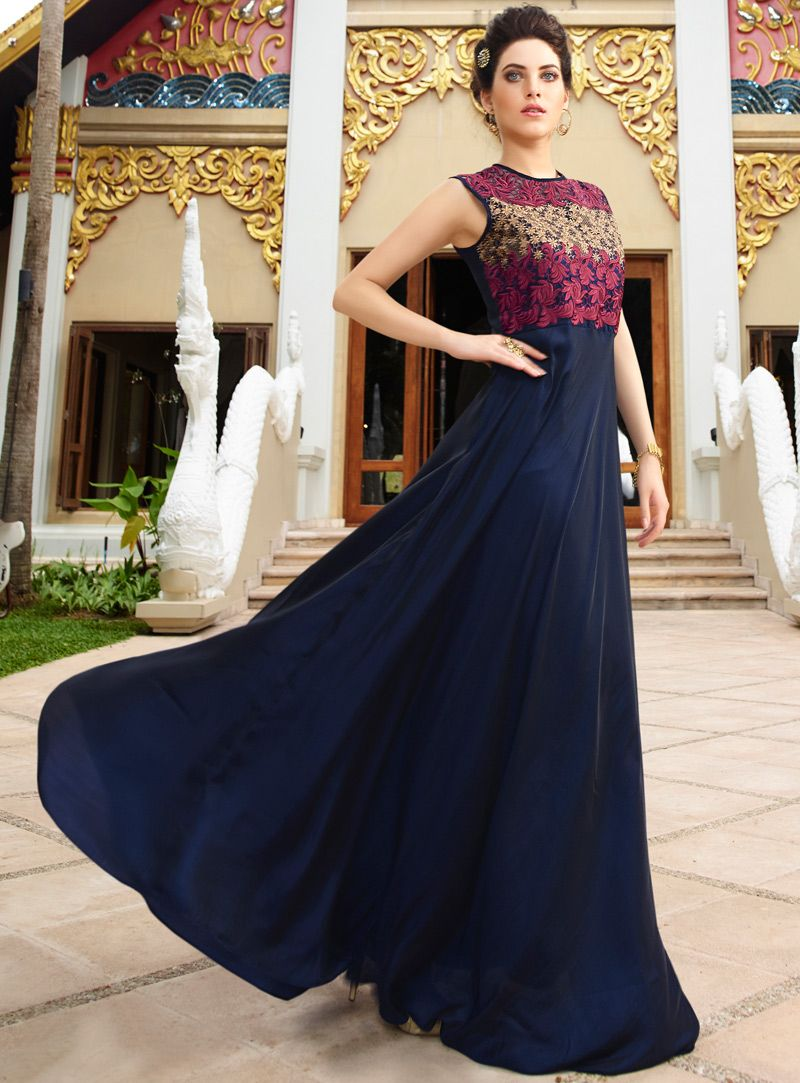 23a08c0ff87 Navy Blue Silk Readymade Party Wear Gown 93916