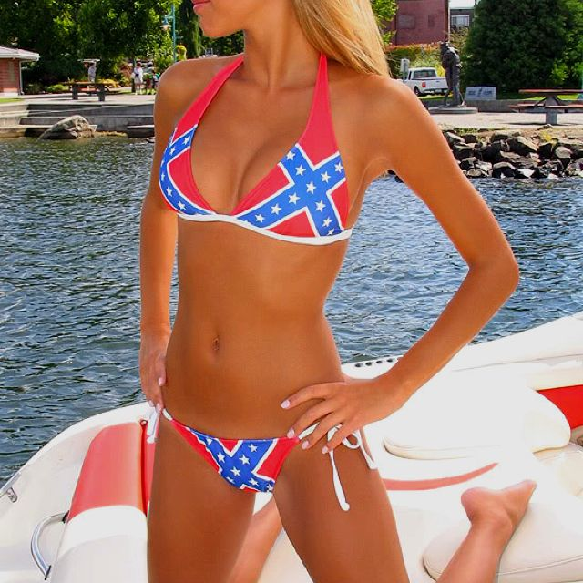 Rebel flag bikini photo, skinny granny milf
