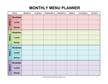 four weeks are decorated in different colors in this monthly menu planner that covers breakfast