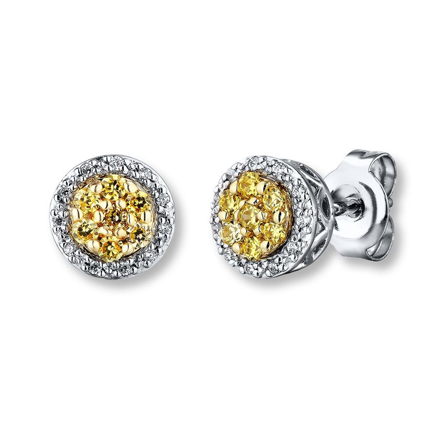 d739369fb Blue Diamond Earrings 1/3 ct tw Round-cut 10K White Gold | Spring ...