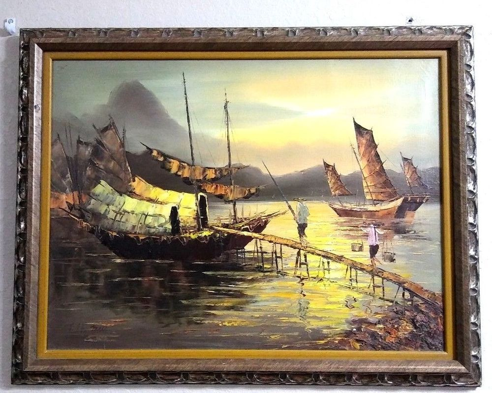 Beautiful Oil on Canvas Vietnamese /Asian Ocean View Framed,Signed ...