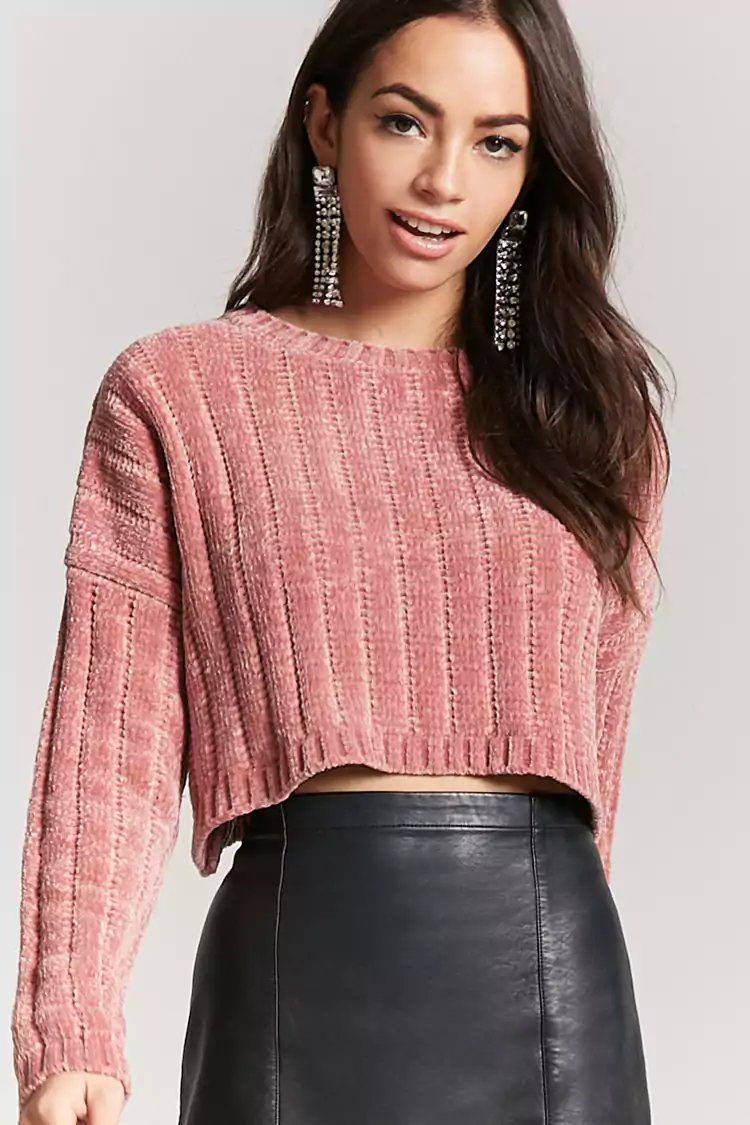 Product Name:Ribbed Chenille Cropped Sweater, Category