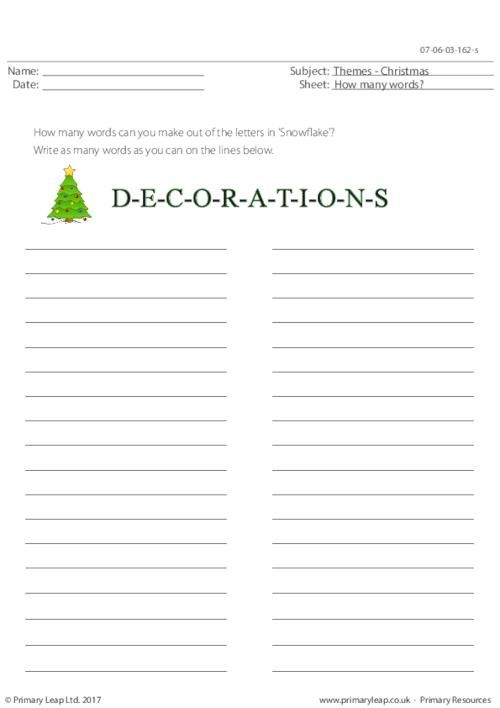 PrimaryLeapuk - Decorations - How Many Words? Worksheet