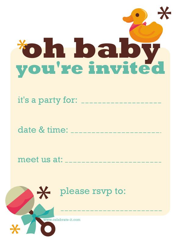 baby-duck-invite.jpg (600×800) | Baby Shower Ideas :) | Pinterest ...