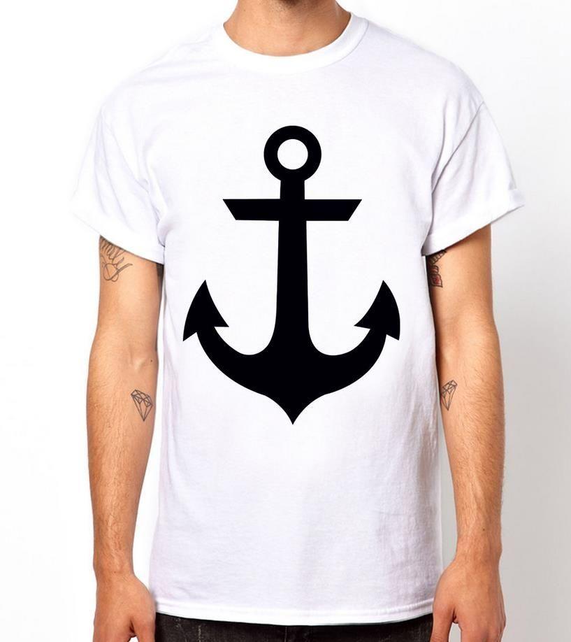 6dbe7b31458 Anchor Sailor Print Men T shirt Fashion Casual Funny Shirt For Man White  Top Tee Harajuku