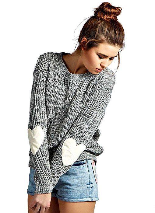 release date 87942 32f40 ZKOO Pullover Damen Langarm Herz Patch Rundhals ...