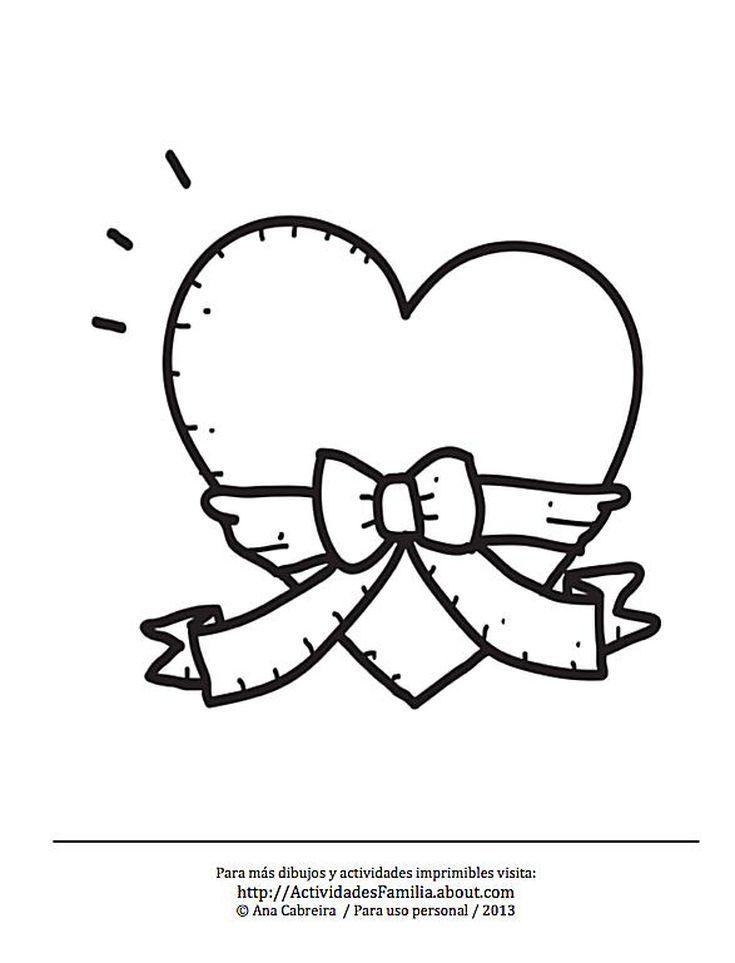 10 Dibujos de corazones para imprimir y colorear: Corazón con cinta ...