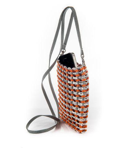 Smart Bag Mini Purse $65.00 Cross body mini purse for iPhones. Crochet & pop tops. Shown in orange thread. #fairtrade #orange #handbags