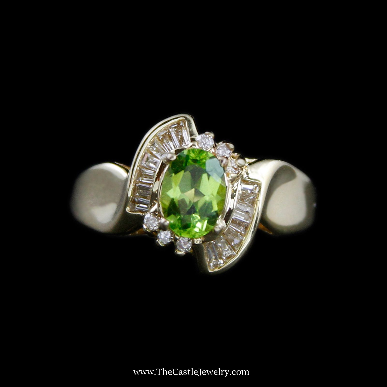 Beautiful Oval Peridot Ring in Baguette & Round Diamond Bypass