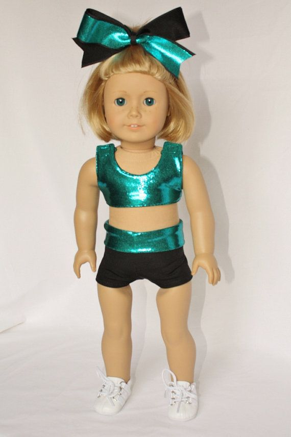 """American Girl  18"""" Doll  -  Cheerleader Sports Bra and Shorts - Teal Mystique and Black on Etsy, $20.00"""