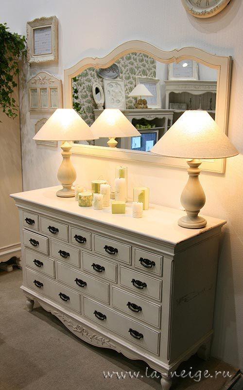 Комод на 14 ящичков белый, мебель прованс