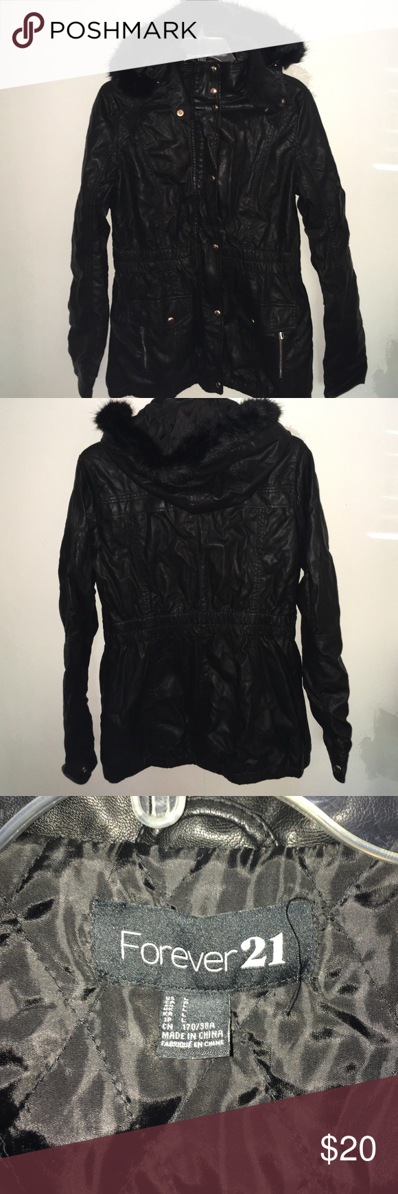 Faux Leather Jacket With Hood This jacket is basically brand new!! Sorry for the wrinkles it's been stored in a box. This is a great deal and a great staple piece to add to your outfit this fall🍂 THE COAT IS FOREVER 21 BRAND BUT I LISTED FASHION NOVA FOR BETTER EXPOSURE Fashion Nova Jackets & Coats