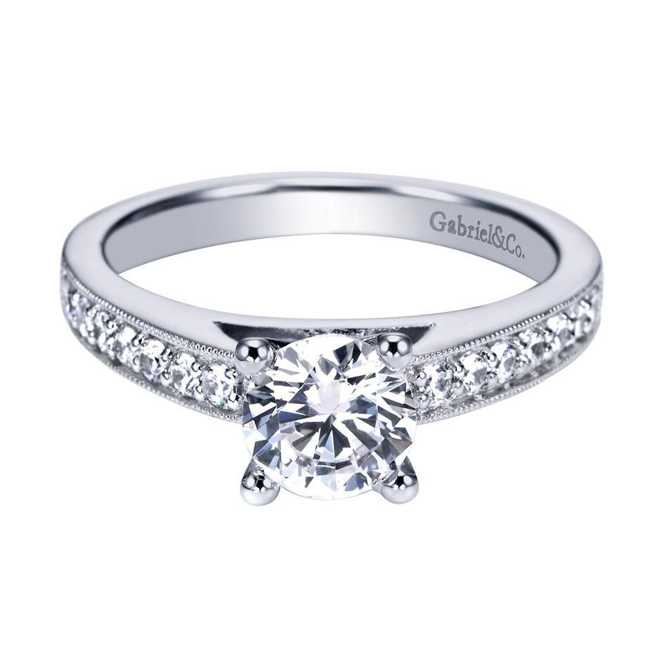 Gabriel & Co 14K White Gold 0.25 ct Diamond Straight Engagement Ring Setting ER3858W44JJ