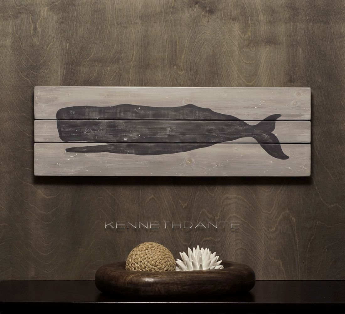 Wood Art Ocean Decor - Whale Plank, Distressed - by kennethdante