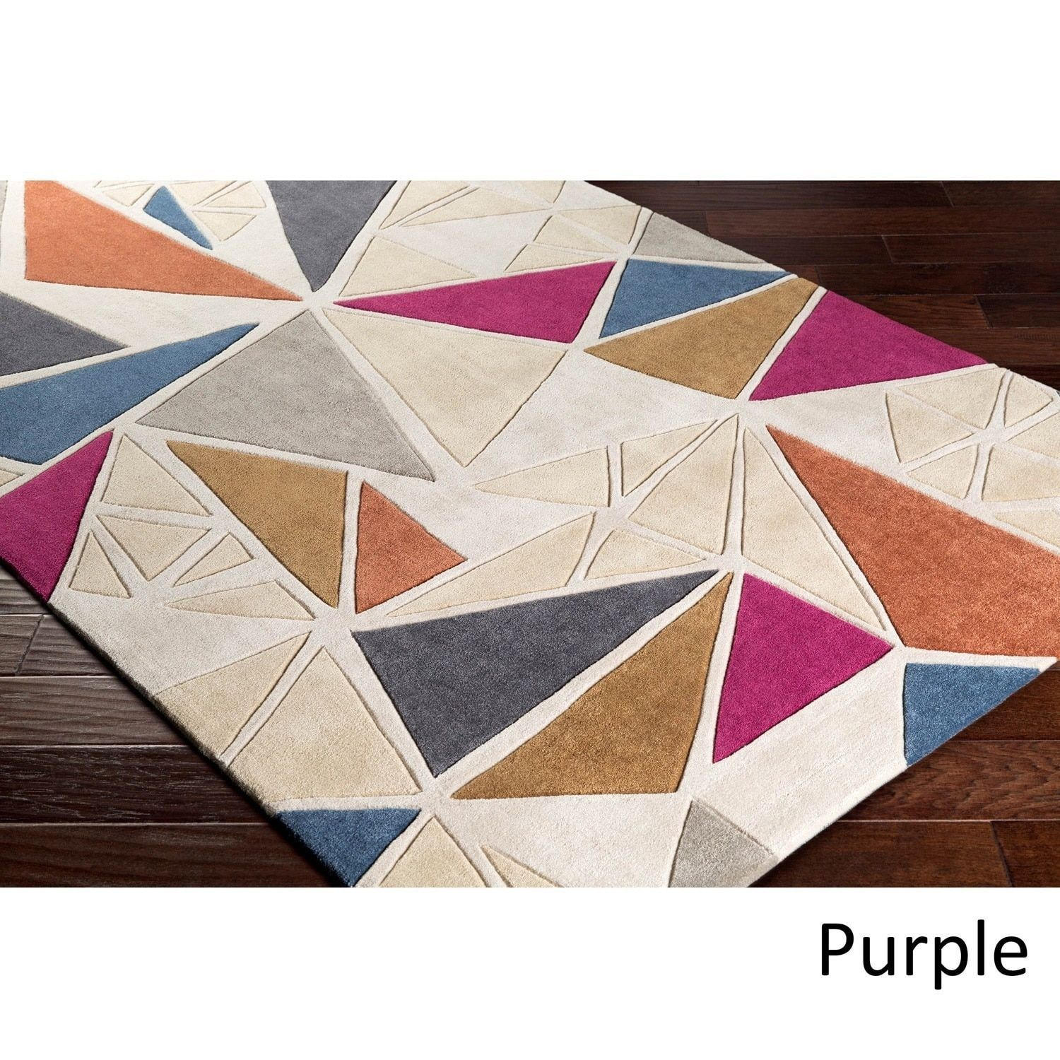 Hand-tufted Grey/ Multi Area Rug (9' x 13') (Purple-(9' x 13')) (Polyester, Abstract)