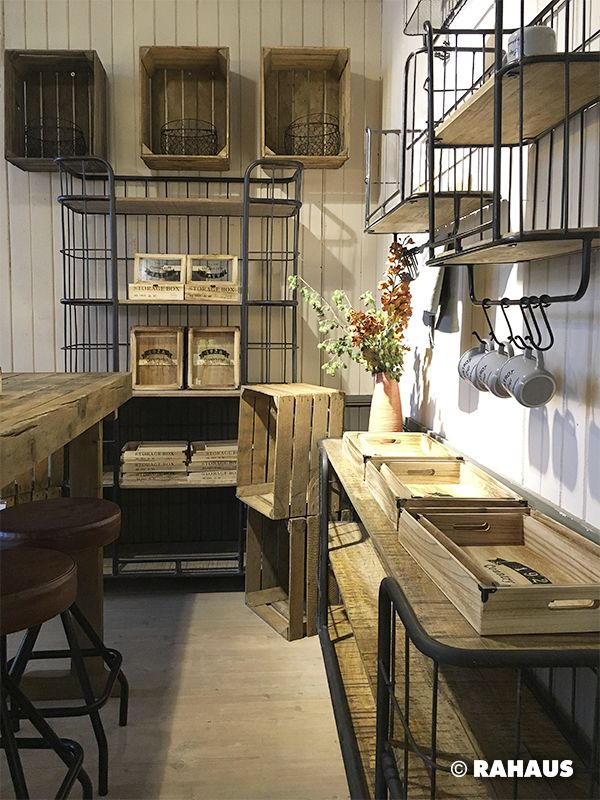 luftig verstauen k che kitchen metall holz regal board wanddeko decoration rahaus. Black Bedroom Furniture Sets. Home Design Ideas