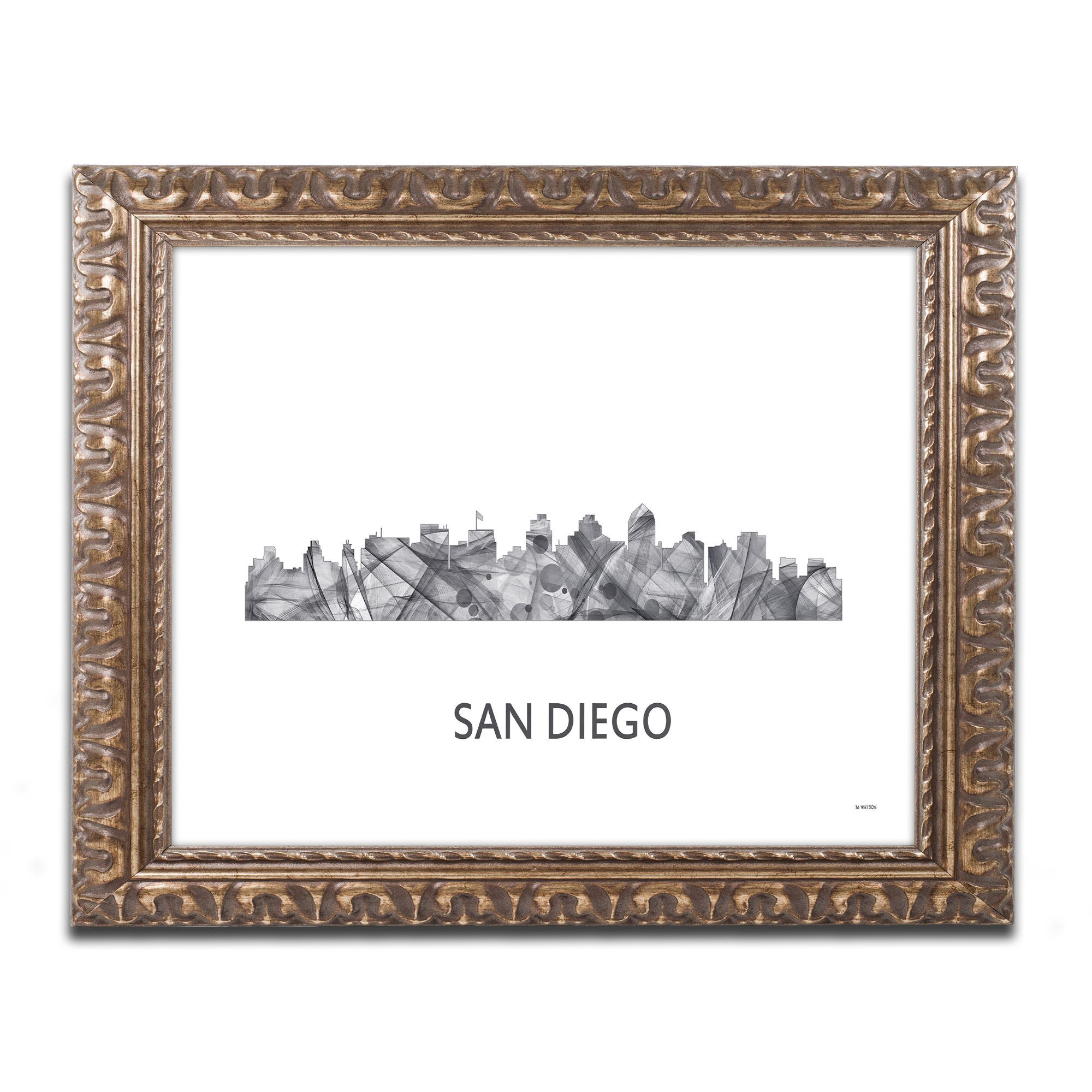 Marlene Watson San Diego California Skyline Wb Bw Ornate