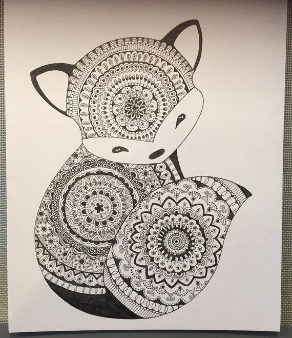 Baby Fox Mandala Print by LilSumpinSpecial on Etsy My