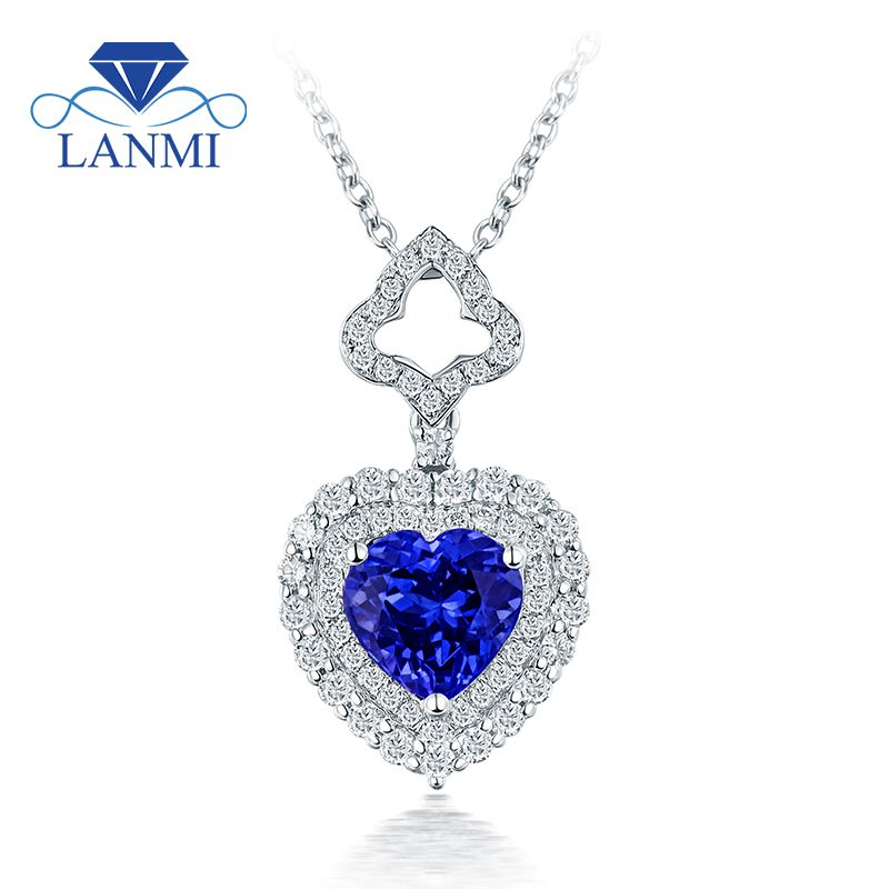 Lovely heart tanzanite pendant necklace shinning diamond real 18k lovely heart tanzanite pendant necklace shinning diamond real 18k white gold good gem for wife birthday aloadofball Image collections