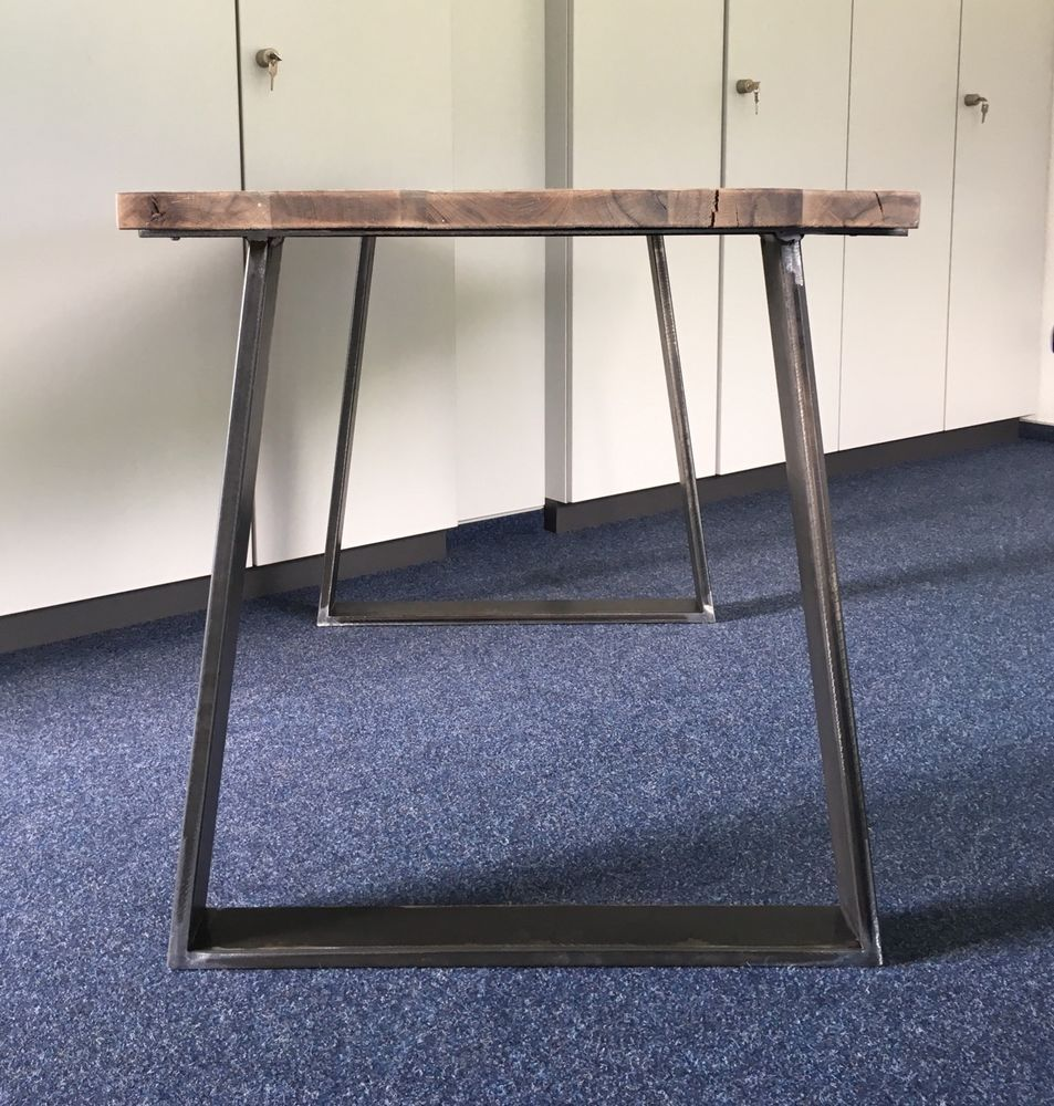 2er Set Tischbeine Stahl Design Tischkufen Trapez Tischgestell Tisch