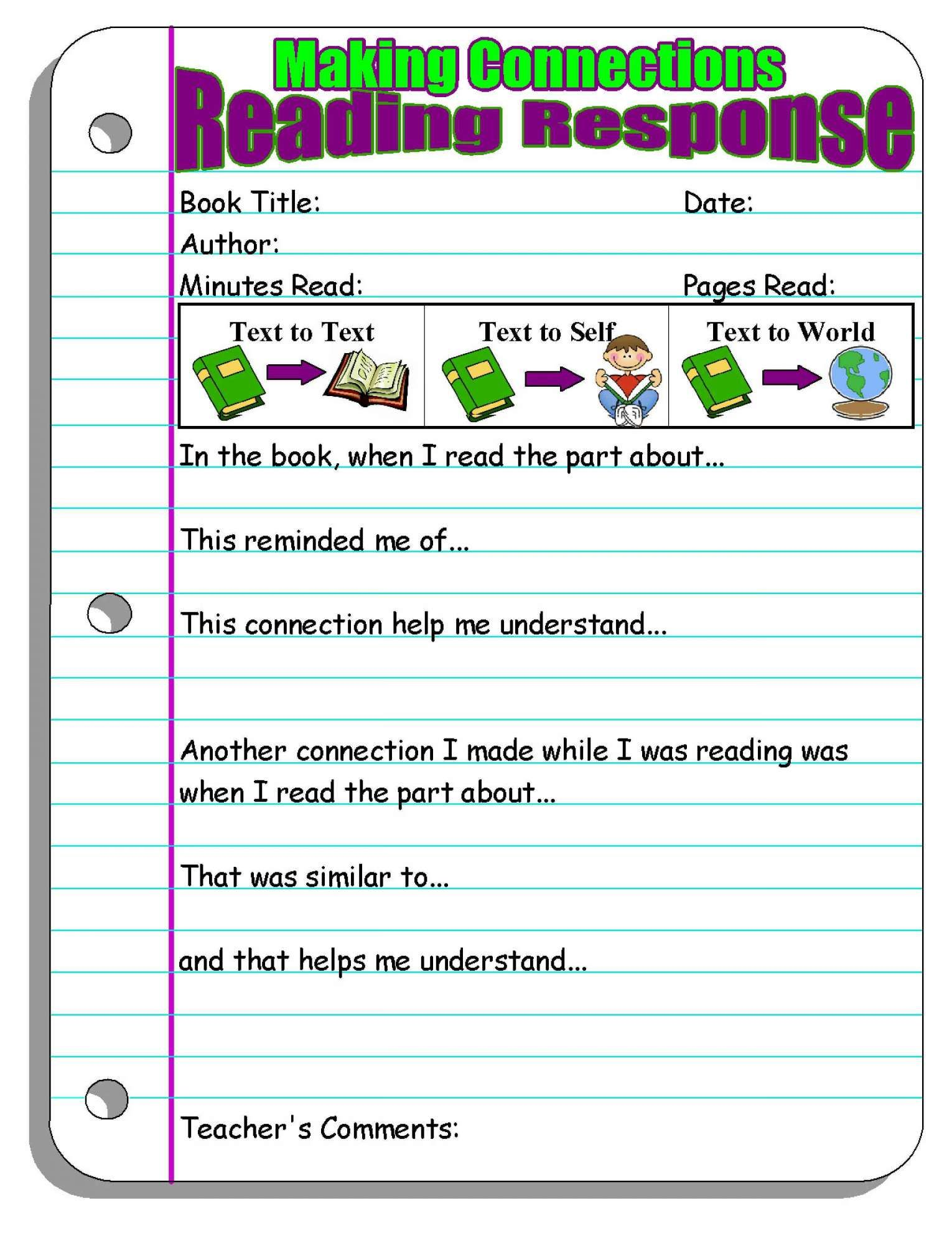 12 Reading Reflection Worksheet Primary