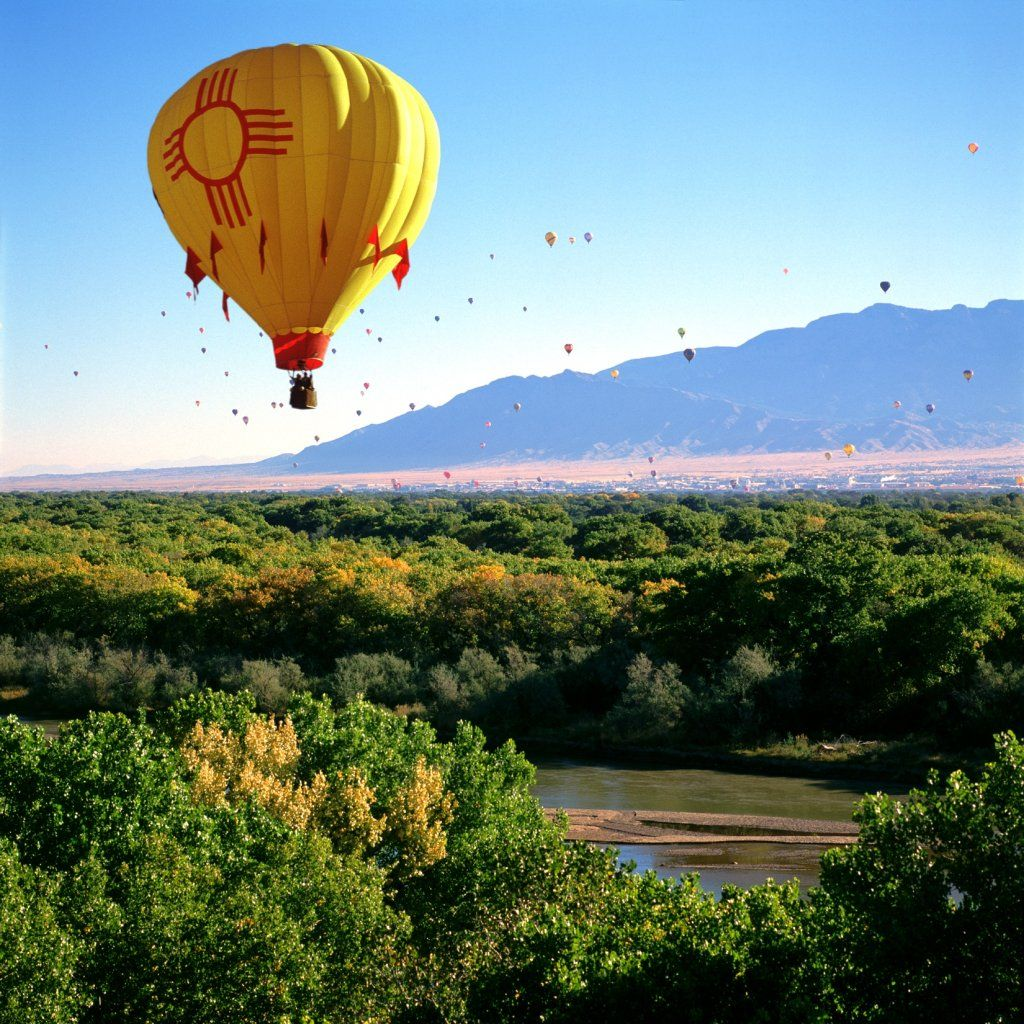 Hot air balloon with the Zia symbol (a Native American