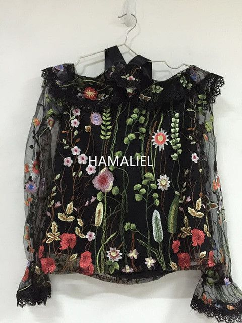 Runway Summer Women Blouse 2017 Fashion Sexy Embroidery Flower Mesh Ruffles Flare Sleeve Female Off Shoulder Halter Shirt Top