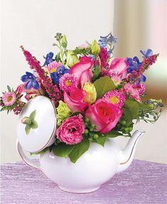Floral Arrangements Purple And Pink On Pinterest Home Floral Arrangements Flower Arrangements Tea Pots
