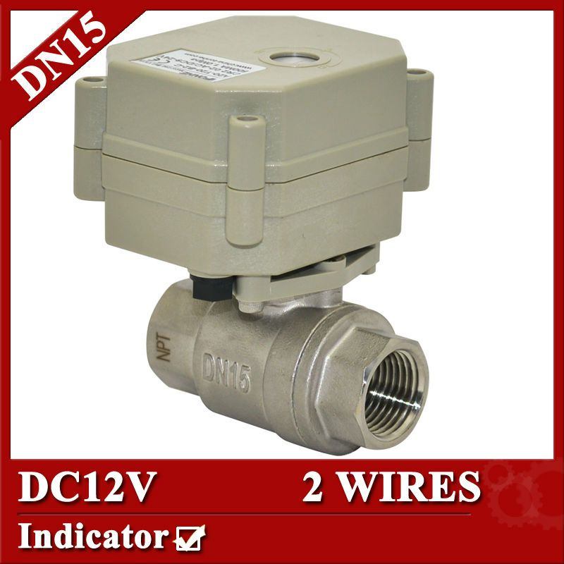1 2 Dc12v Motorized Valve 2 Wires Cr201 Bsp Npt Full Bore Ss304 Electric Actuated Ball Valve For Water Control Electric Water Valve