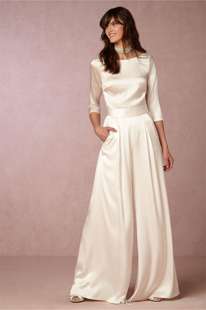 Pant Wedding Dresses Bhldn With 3 4 Long Sleeves And V Back Soft Satin Ivory Bridal Pants Custom Made London Under 100