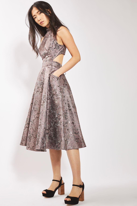 Metallic Jacquard Prom Midi Dress - New In