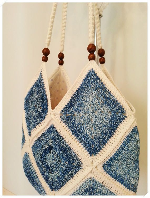 Häkeltasche, Oma-Quadrat-Tasche, Umhängetasche, Boho Tasche, Einkaufstasche, Retro-Tasche, Geschenk für sie, Vintage-Stil, Hippie-Stil, Baumwolltasche – Bolsa de moda