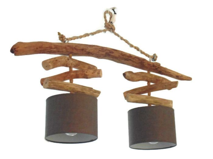 lustre plafonnier en bois flott gris 20 cm cr ation unique double suspension led. Black Bedroom Furniture Sets. Home Design Ideas