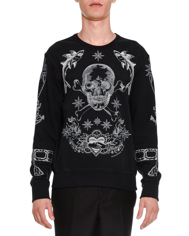 Embroidered-Skull Long-Sleeve Sweatshirt, Black - Alexander McQueen