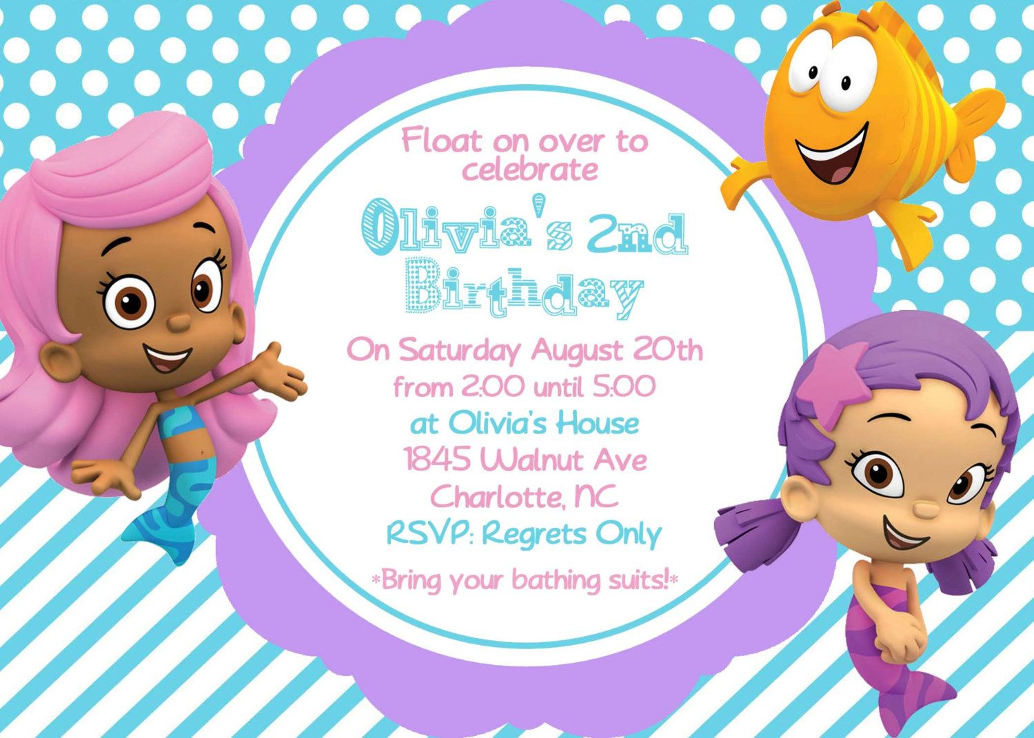 bubble guppy girls birthday invite card can be or customized invitation jpeg printable children holiday