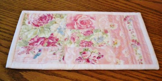 Quilted Mug Rug. Shabby Chic Pink Mug Rug by SharleesQuiltCottage