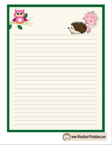Writing Paper Printable Featuring Hedgehog  Lined Stationary