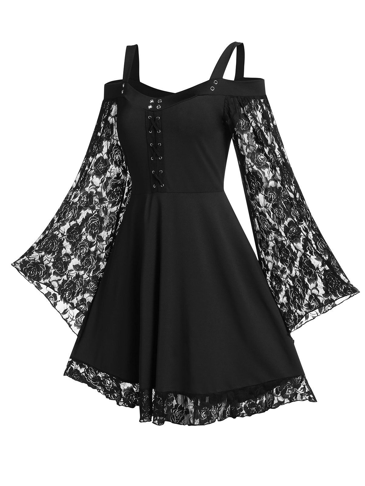 Dresslily Com Photo Gallery Cold Shoulder Sweetheart Neck Lace Insert Dress In 2020 Mini Dress With Sleeves Lace Dress With Sleeves Clothes