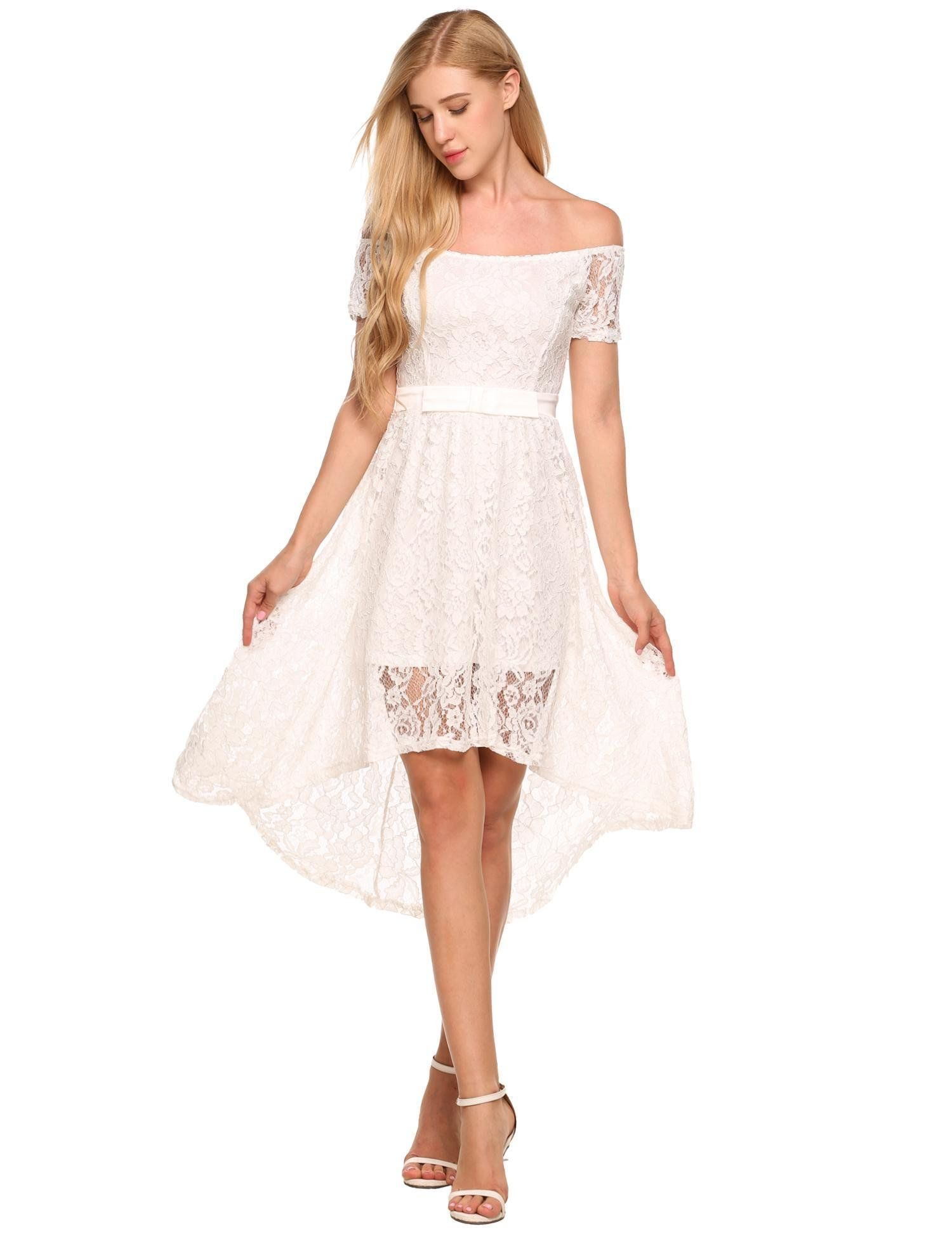 Angvns Womens Retro Floral Lace Bridesmaid Wedding Long Dress White