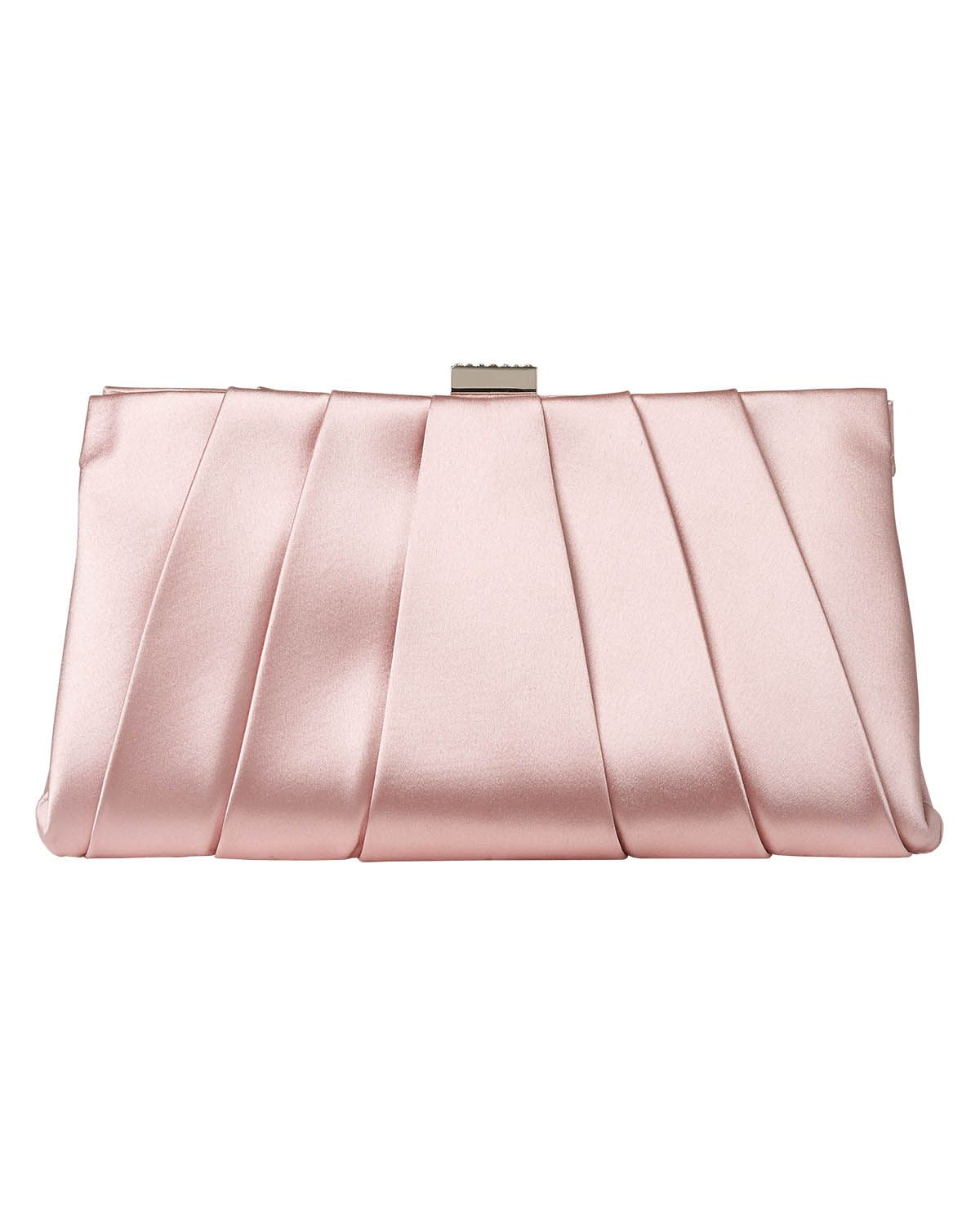 Bags Pink Eva Soft Pleat Satin Clutch Bag Phase Eight