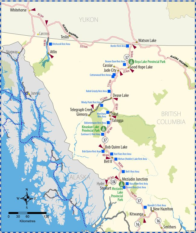 Highway 37 Map Province Of British Columbia Alaska In