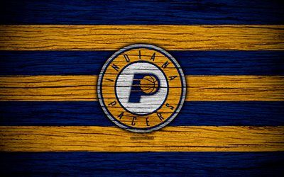 4k, Indiana Pacers, NBA, wooden texture, basketball, Eastern Conference, USA, emblem, basketball club, Indiana Pacers logo