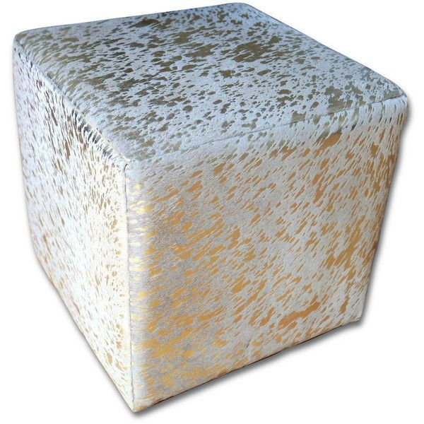 On Hair On Cowhide Cube Ottoman Footstool Gold Metallic Cowhide