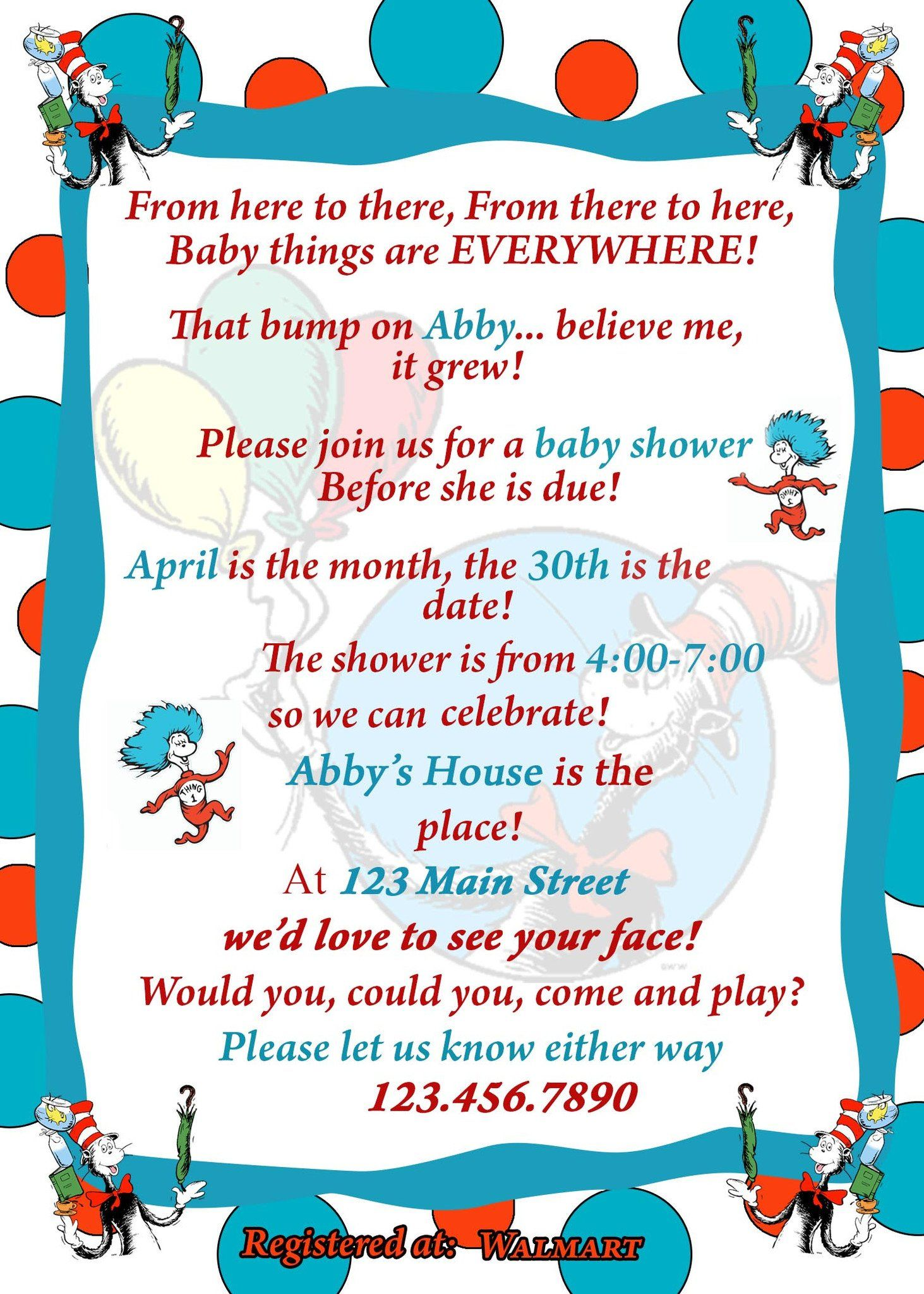 Dr. Seuss Baby Shower Invitation | Dr seuss baby shower and Babyshower
