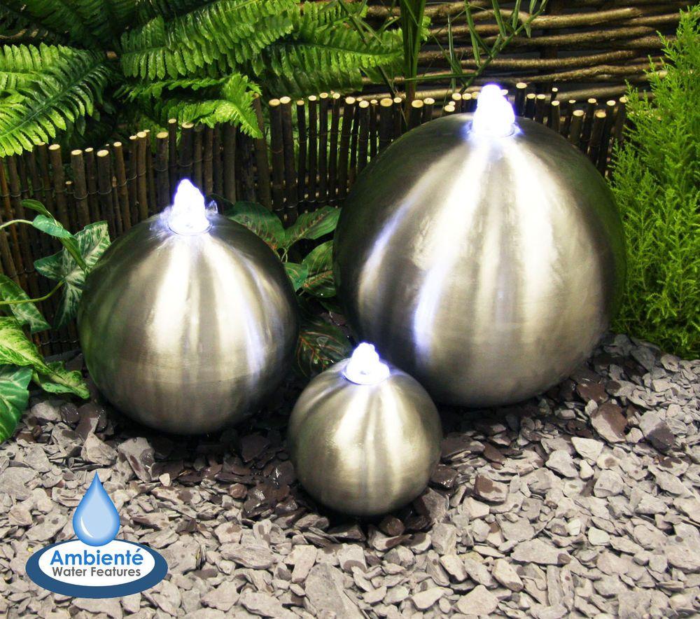 Fontaine boule acier bross e sph re led jardin lumi res for Sphere led exterieur